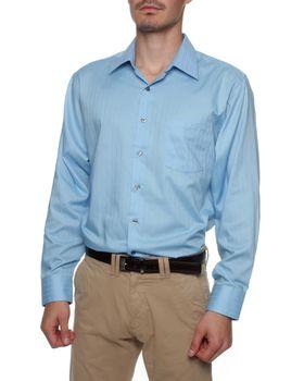 Van Heusen Satin Stripe Men's Sleeve Size 34/35 Shirt - Blue