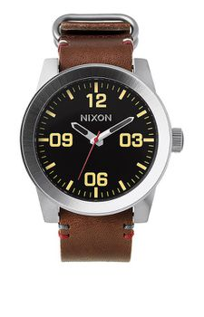 Nixon Corporal Leather Black & Brown Mens Watch - A243019