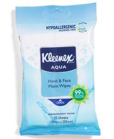 Kleenex Aqua Hand Plus Face Wipes - 20x 10