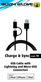 Body Glove MFI Lightning & Micro USB Cable - Black