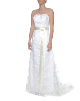 Snow White Strapless Lace Wedding Gown - White