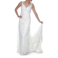 Snow White Sweetheart Lace Wedding Gown - Ivory