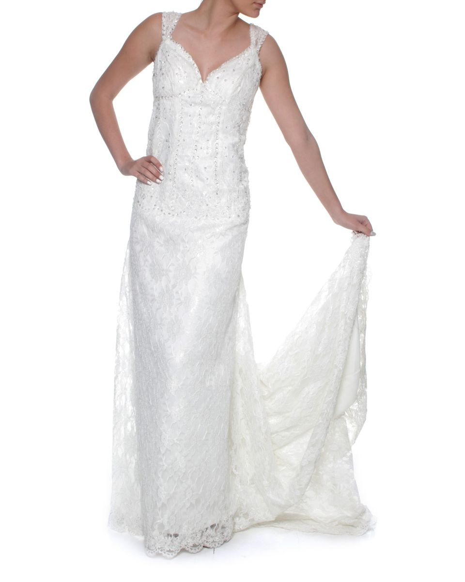 Snow White Sweetheart Lace Wedding Gown - Ivory | Buy Online in ...