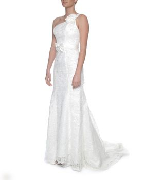 Snow White Lace Mermaid Wedding Gown - Ivory