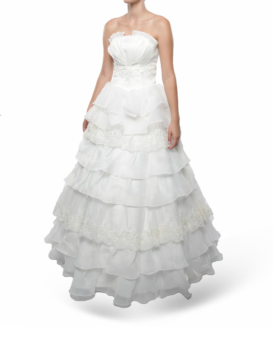 Snow White Strapless Princess Wedding Gown - White | Buy Online in ...