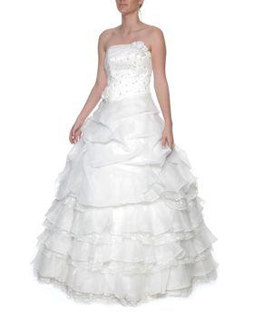Snow White Strapless Princess White Wedding Gown