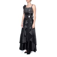 Snow White Formal Evening Gown with Shawl - Black (Size: M-L)