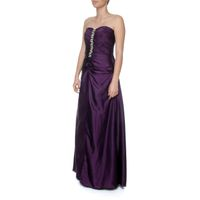 Snow White Classy Deep Purple Strapless Evening Gown - Purple (Size: M-L)