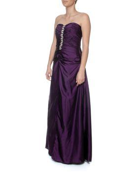 Snow White Classy Deep Purple Strapless Evening Gown - Purple (Size: M-L)