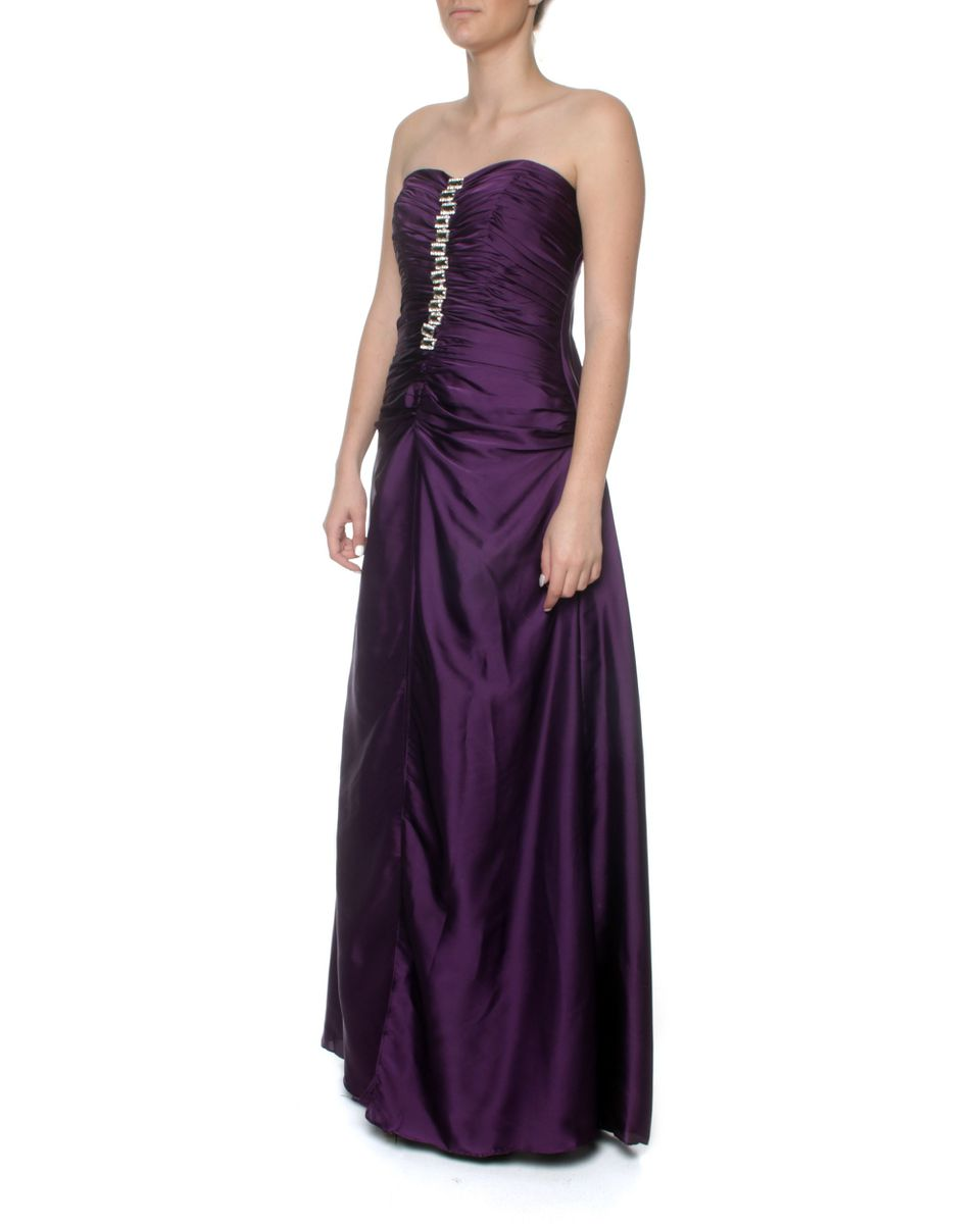 Snow White Classy Deep Purple Strapless Evening Gown - Purple (size ...