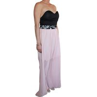 Snow White Sweetheart Evening Gown with Sequin Pattern Embellishment Band - Black & Pink