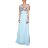 Snow White Sparkling Chiffon Evening Gown - Light Blue