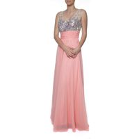 Snow White Sparkling Chiffon Evening Gown - Coral & Peach