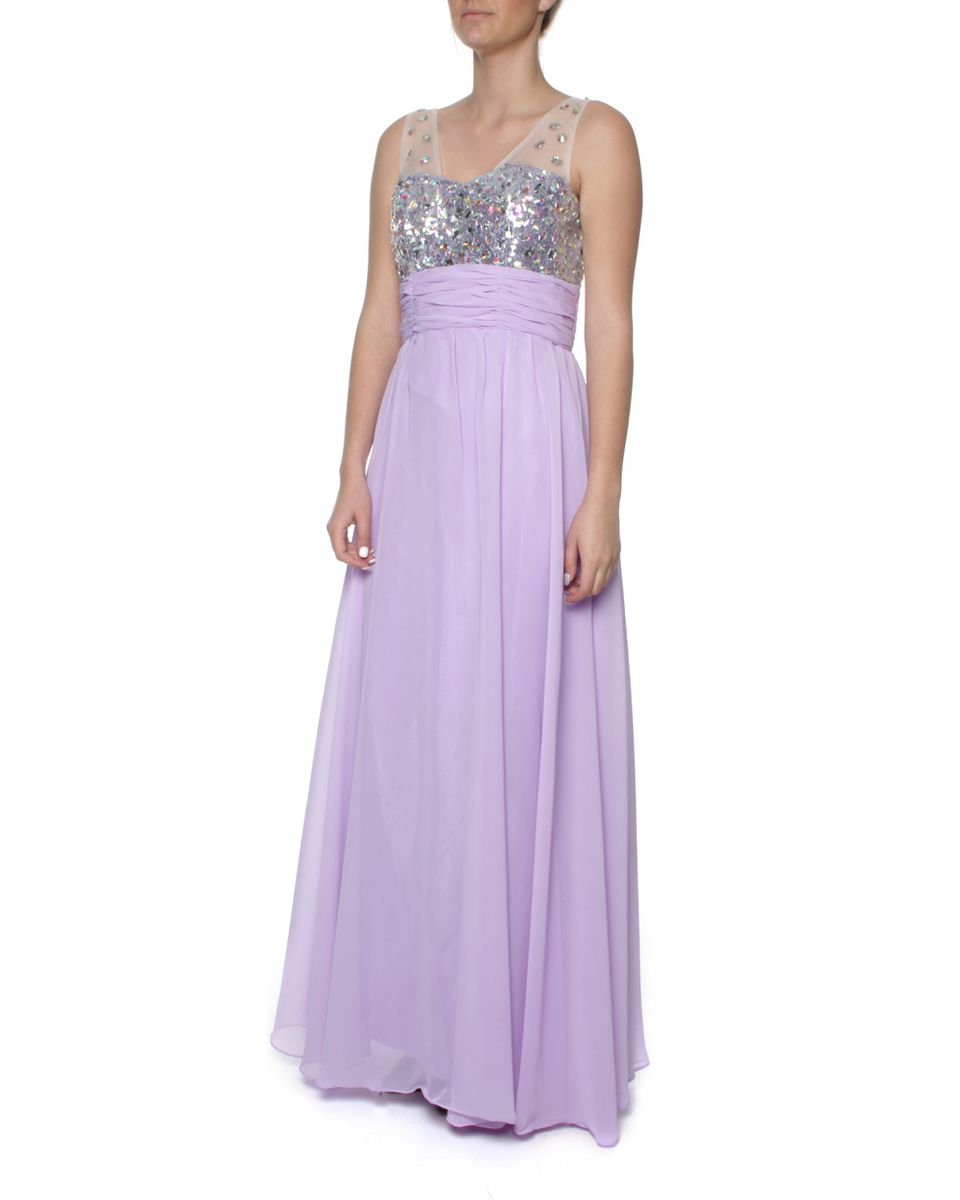 Snow White Sparkling Chiffon Evening Gown - Lilac | Buy Online in ...