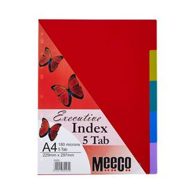 Meeco Executive A4 5 Tab Multi Colour Indexes