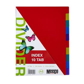 Meeco Executive A4 10 Tab Multi Colour Indexes