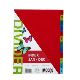 Meeco Executive A4 12 Tab (Jan - Dec) Multi Colour Indexes