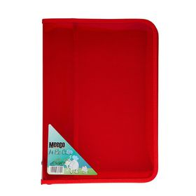 Meeco A4 Zip File Case - Red