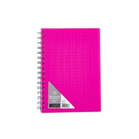 Meeco Neon Stripe A5 80 Ruled Sheets Spiral Bound Notebook - Pink