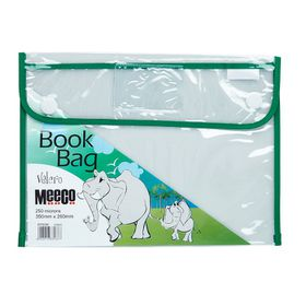 Meeco Book Bag with Velcro Closure - Green Piping