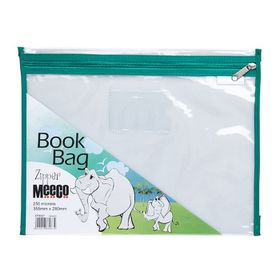 Meeco Book Bag with Zip Closure - Green Piping