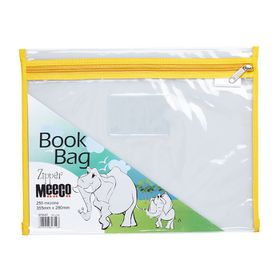 Meeco Book Bag with Zip Closure - Yellow Piping