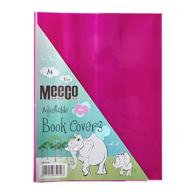 Meeco A4 130 micron Clear Adjustable Book Covers - Pink (10 Pack)