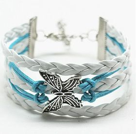 Urban Charm Infinity Bracelet with Butterfly Charm Turquoise & White