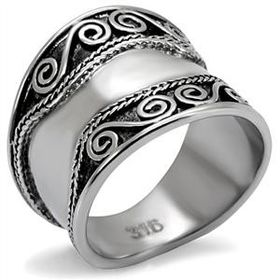 Miss Jewels - Stainless Steel Antique Inspired Decorated Ring