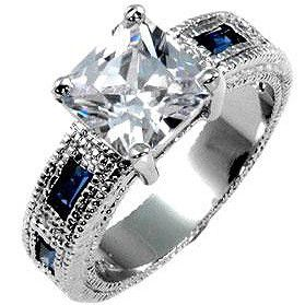 Miss Jewels - Sapphire and Clear Cubic Zirconia Costume Engagement Style Ring
