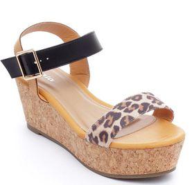Bata Ladies Wedge Sandal - Leopard