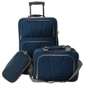 Eco 3 Piece Weekend Travel Set - Blue with Grey Trim