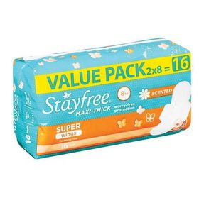 Stayfree Maxi Thick Supers Wings Scented - Pack of 16