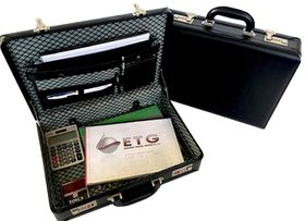 Tosca Executive PVC Attache Case with Combo Locks - Expandable - Black