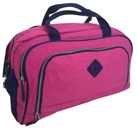 Edison Sport Crinkle Nylon Medium Sports Bag - Pink/Navy
