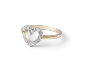 Why Jewellery Heart Damond Ring - Yellow Gold Plated