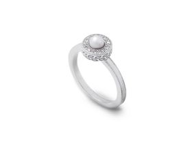 Why Jewellery Halo Diamond And Pearl Ring - Silver