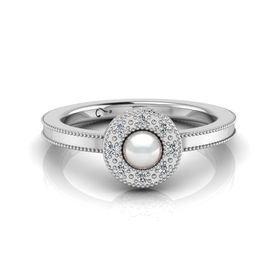 Why Jewellery Halo Diamond And Pearl Ring - Silver (Size: N)