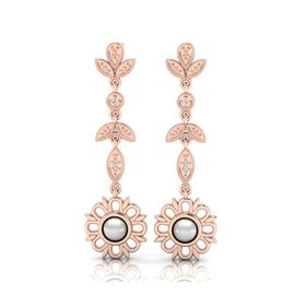 Why Jewellery Diamond And Pearl Chandelier Earrings - Rose Gold (WE00055)