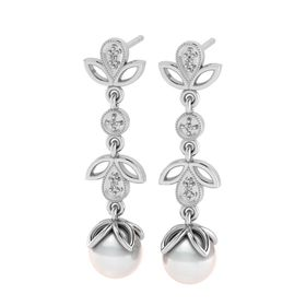 Why Jewellery Diamond And Pearl Chandelier Earrings - Silver