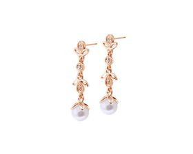 Why Jewellery Diamond And Pearl Chandelier Earrings - Rose Gold (WE00058)