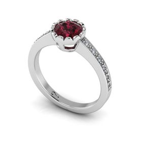 Why Jewellery Rhodolite And Diamond Ring - Silver (Size: N)