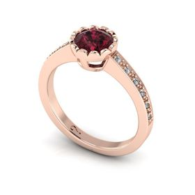Why Jewellery Rhodolite And Diamond Ring - Rose Gold (Size: N)