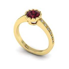 Why Jewellery Rhodolite And Diamond Ring - Yellow Gold (Size: N)