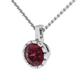 Why Jewellery Rhodolite Pendant And Chain - Silver (Size: N)