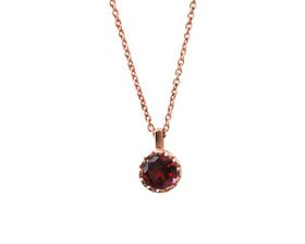 Why Jewellery Rhodolite Pendant And Chain - Rose Gold (Size: N)