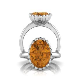 Why Jewellery Citrine Ring - Silver  (Size: N)