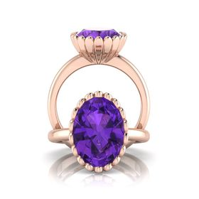 Why Jewellery Amethyst Ring - Rose Gold (Size: N)