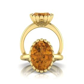 Why Jewellery Citrine Ring - Yellow Gold (Size: N)