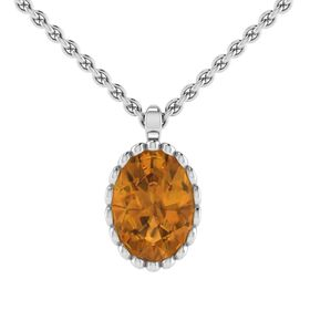 Why Jewellery Citrine Pendant And Chain - Silver